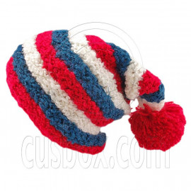 Unisex Striped Soft Slouchy Beanie Hat Christmas Party Crown (RED blue white)