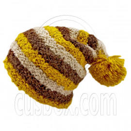 Unisex Striped Soft Slouchy Beanie Hat Christmas Party Crown (YELLOW brown beige)