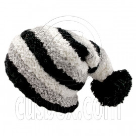 Unisex Striped Soft Slouchy Beanie Hat Christmas Party Crown (BLACK gray white)