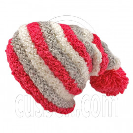 Unisex Striped Soft Slouchy Beanie Hat Christmas Party Crown (PINK gray white)