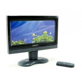 LCD Slim TV Plasma 16:9 w Remote Dollhouse Miniature