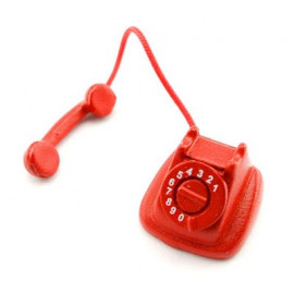 Vintage Red Old Telephone Phone Dollhouse Miniature