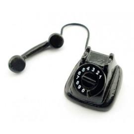 Vintage Black Old Telephone Phone Dollhouse Miniature
