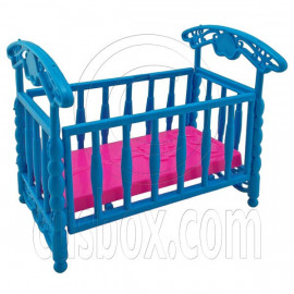 Blue Nursery Crib Cradle Bed 1/6 Barbie Kelly Doll's House Dollhouse Furniture