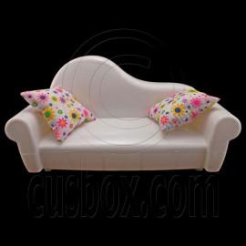 Set White 2-Seate Sofa 2 x Cushion 1/6 Barbie Doll's House Dollhouse Furniture