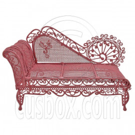 Pink Wire Chaise Longue Long Sleeper Sofa 1:12 Doll's House Dollhouse Furniture