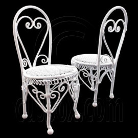 Pair 2x White Wire Round Coffee Cafe Chair 1/12 Doll's House Dollhouse Furniture