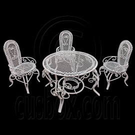White Wire 3 x Chairs Oval Table Set Combo 1:12 Doll's House Dollhouse Furniture