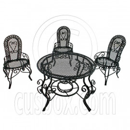 Black Wire 3 x Chairs Oval Table Set Combo 1/12 Doll's House Dollhouse Furniture