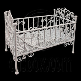 White Wire Nursery Cradle Bed Crib 1/6 Kelly Doll's House Dollhouse Furniture