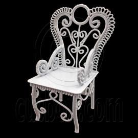 White Wire Queen Ann Coffee Cafe Arm Chair 1/12 Doll's House Dollhouse Furniture