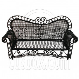 Black Wire Long 3 Seater Sleeper Sofa Bed 1/12 Doll's House Dollhouse Furniture