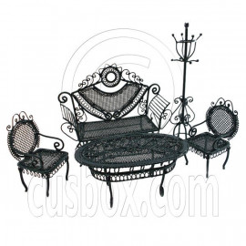 Set Black Sofa Chair Table Hat Rack 1/12 Doll's House Dollhouse Furniture 5pcs
