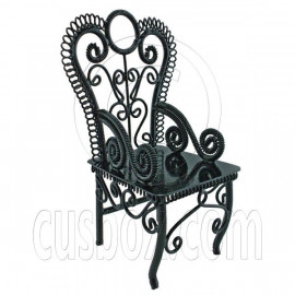 Black Wire Queen Ann Coffee Cafe Arm Chair 1/12 Doll's House Dollhouse Furniture