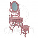 Pink Wire Vanity Mirror Chair New Set 1/12 Doll's House Dollhouse Furniture MIB