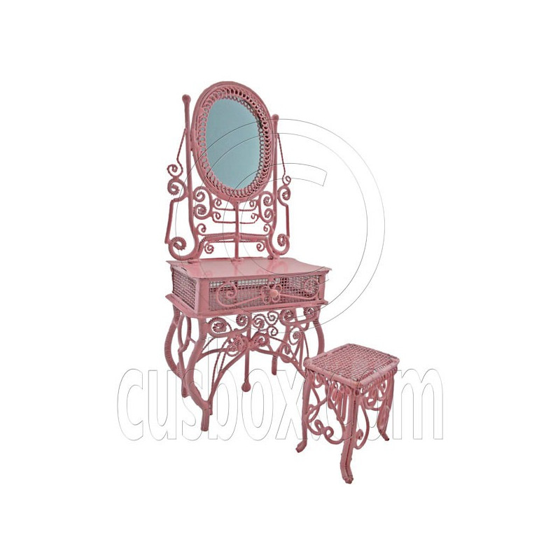 Pink Wire Vanity Mirror Chair New Set 1 12 Doll 39 S House Dollhouse Furnitu