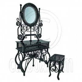 Black Wire Vanity Mirror Chair New Set 1/12 Doll's House Dollhouse Furniture MIB