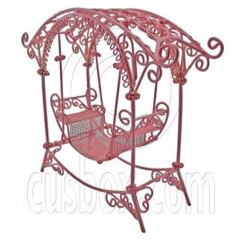 Pink Wire Rocking Chair Bench Swing Seat 1/12 Doll's House Dollhouse Furniture