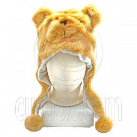 Teddy Bear Funny Fur 3D Mascot Plush Costume Adult Boys Halloween Hat Cap Mask