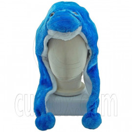 Blue Ocean Dolphin Fur Fish Cartoon Mascot Plush Costume Halloween Party Hat Cap