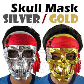 Gold / Silver Plating Skull Pirate Adult Uni-Sex Party Halloween Full Face Mask