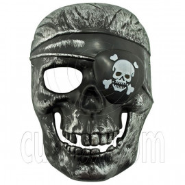Black Silver Pirate Skull 3D Party Halloween Full Mask