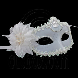 White Adult Floral Mardi Gras Venetian Masquerade Party Face Eye Mask Halloween