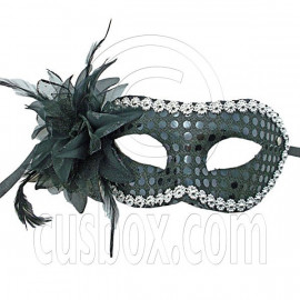 Black Adult Floral Beads Mardi Gras Venetian Masquerade Face Eye Mask Halloween