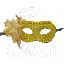 Golden Adult Floral Beads Mardi Gras Venetian Masquerade Face Eye Mask Halloween