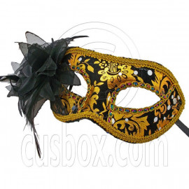 Golden Black Floral Mardi Gras Venetian Masquerade Face Eye Mask Party Halloween