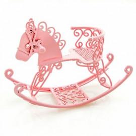 Pink Wire Nursery Rocking Horse Dollhouse Miniature
