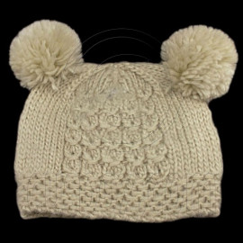Warm Plain Wooly Beanie w/ Two Small Top Lovely Poms (LIGHT BROWN)