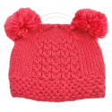 Warm Plain Wooly Beanie w/ Two Small Top Lovely Poms (SALMON PINK)