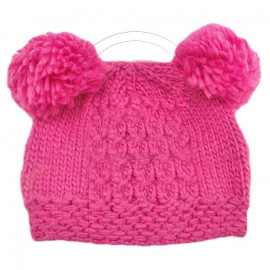 Warm Plain Wooly Beanie w/ Two Small Top Lovely Poms (HOT PINK)