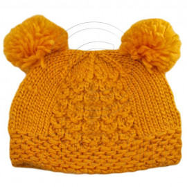 Warm Plain Wooly Beanie w/ Two Small Top Lovely Poms (YELLOW)