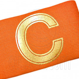 Football Games Gear Adjustable Golden C Captain Armband (ORANGE)