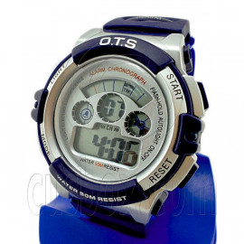 Digital Sports Men's Watch (833) (BLUE w/ silver display)