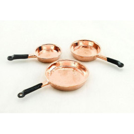 Set/Lot Kitchen Copper Cooking Pan Dollhouse Miniature