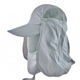 Long Neck Flap /w Face Mask Mesh Cap Hat Fishing Hiking (GRAY)