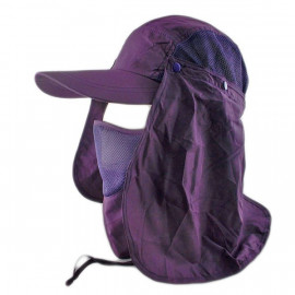 Long Neck Flap /w Face Mask Mesh Cap Hat Fishing Hiking (DARK PURPLE)