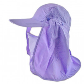 Long Neck Flap /w Face Mask Mesh Cap Hat Fishing Hiking (PURPLE)