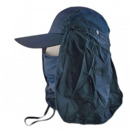 Long Neck Flap /w Face Mask Mesh Cap Hat Fishing Hiking (DARK BLUE)