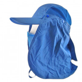 Long Neck Flap /w Face Mask Mesh Cap Hat Fishing Hiking (ROYAL BLUE)