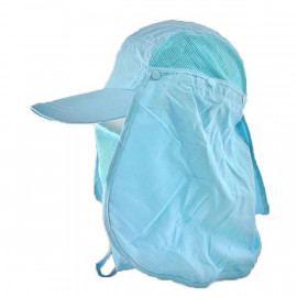 Long Neck Flap /w Face Mask Mesh Cap Hat Fishing Hiking (AQUA BLUE)