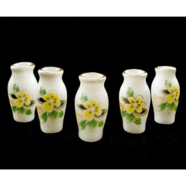 Lot 5 Yellow Porcelain Flower Vase Dollhouse Miniature