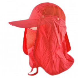 Long Neck Flap /w Face Mask Mesh Cap Hat Fishing Hiking (VERMILION RED)