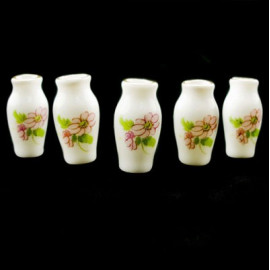 Lot of 5 Porcelain Pink Flower Vase Dollhouse Miniature