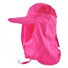 Long Neck Flap /w Face Mask Mesh Cap Hat Fishing Hiking (PURPLE PINK)