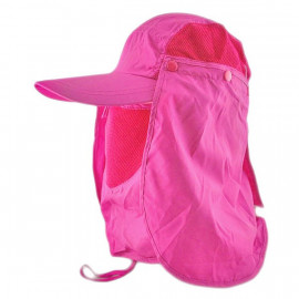 Long Neck Flap /w Face Mask Mesh Cap Hat Fishing Hiking (HOT PINK)