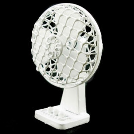 White Wire Vintage Electric Fan New Dollhouse Miniature